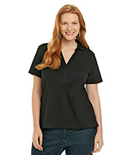 Studio Works® Plus Size Y-neck Polo