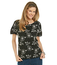 Cathy Daniels® Black White Duet Knit Top