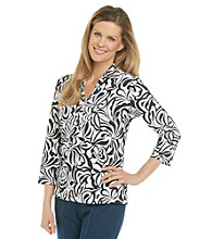 Cathy Daniels® Black White Duet Polo Top