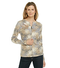 Breckenridge® Floral Etching Zip Cardigan
