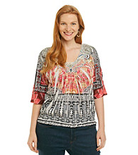 Oneworld® Plus Size Embellished Smocked Hem Top