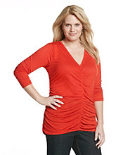 DKNY JEANS® Plus Size Shirred V-Neck Knit Top