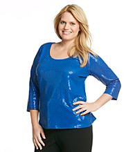 Calvin Klein Collection Plus Size Sequined Scoopneck Top