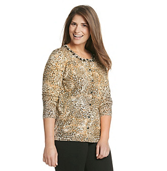 Jones New York Signature® Plus Size Rhinestone Embellished Printed Cardigan