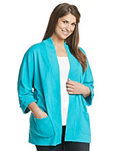 Rafaella® Plus Size Cardigan with Open Front and Two Pockets