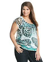 Oneworld® Plus Size Crochet Overlay with Printed Tank