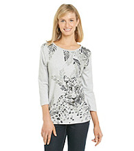 Alfred Dunner® Petites' Abstract Cheetah Print Top