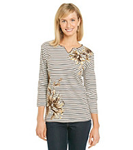 Alfred Dunner® Petites' Striped Floral Print Top