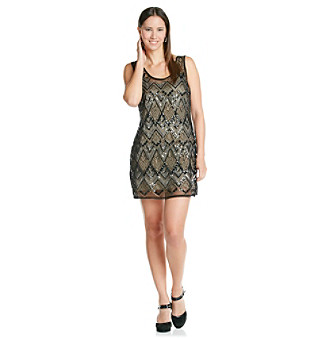 "Jessica Simpson ""Dima"" Beaded Mesh Tank Dress"