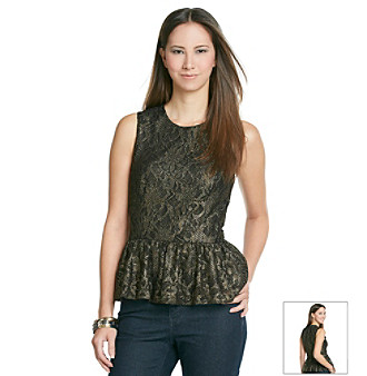 Vince Camuto® Foil And Lace Peplum Blouse