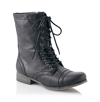 Girls Black Combat Boots - Cr Boot