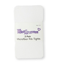 Miss Attitude Girls' 2-pk. White Microfiber Rib Tights