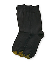 GOLD TOE® Men's Black Palladium 3-Pack Crew Socks