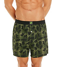 John Bartlett Statements Men's Green Checkered Boxer with Black Bears
