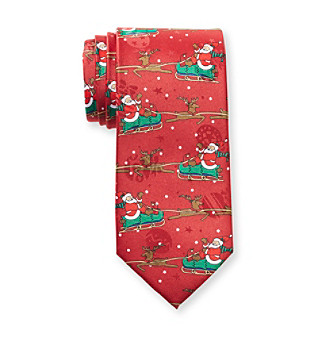 St. Nick's Men's Holiday Santa and Reindeer Allover Necktie