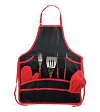 Picnic Time® BBQ Apron Tote Set with Tools and Hat