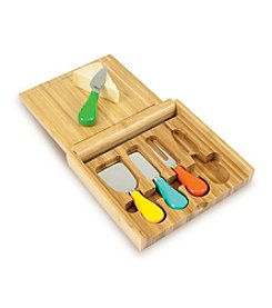 Picnic Time® Carnaval Bamboo Cutting Board with Colored Cheese Tools