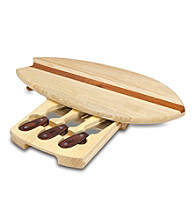 Picnic Time® Surfboard Cheese Cutting Board Set with Tools