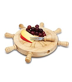 Picnic Time® Mariner Shipwheel Design Cutting Board with Tools