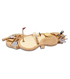 Picnic Time® Sand Trap Cutting Board with Wine and Cheese Tools