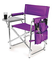 Picnic Time® Purple Stripe Sport Chair with Chrome Frame