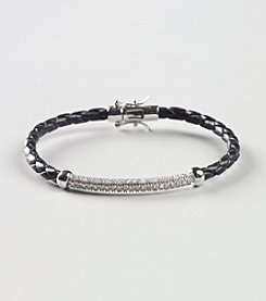 Marsala Sterling Silver and Diamond .25 CT Leather Bracelet