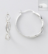 Marsala Sterling Silver and Diamond .25 ct. t.w Hoop Earrings
