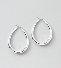 Lauren Ralph Lauren Silvertone Teardrop Hoop Earrings