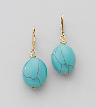 Lauren Ralph Lauren Goldtone and Turquoise Nugget Earrings