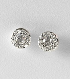 Lauren Ralph Lauren Clear Crystal and Silvertone Round Pave Button Earrings