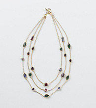 Lauren Ralph Lauren Goldtone/Dark Multi Multi Row Necklace
