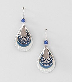 Silver Forest® Blue Layered Tear Drop Earrings