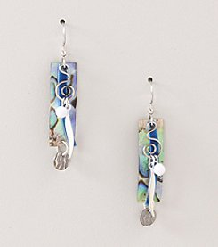 Silver Forest® Blue Abalone Coil Earrings