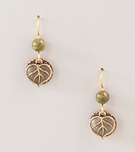 Silver Forest® Green Bead and Leaf Earrings