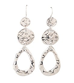 Erica Lyons® Silver Reflections Triple Drop Pierced Earrings