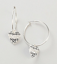 Guess Large Hoop with Grafitti Logo Drop Shiny Silvertone Earrings