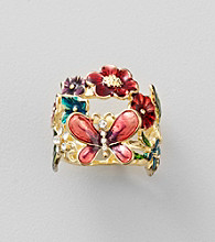 Guess Goldtone Flower Ring