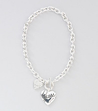 Guess Silvertone Heart Necklace