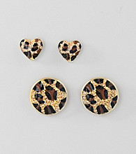 Guess Goldtone Animal Duo Earrings Set
