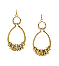 Jessica Simpson Goldtone and Crystal Washer Drop Hoop Earrings