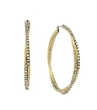 Jessica Simpson Goldtone Twist Hoop Earrings