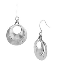 Kenneth Cole® Silvertone Sculptural Double Drop Earrings