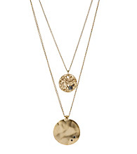 Kenneth Cole® Goldtone Textured and Hammered Discs Two Row Necklace