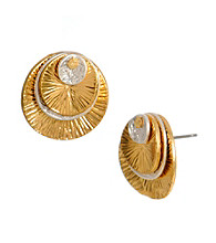 Kenneth Cole® Two Tone Multi Disc Stud Earrings