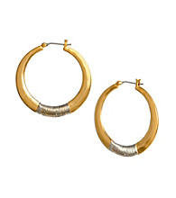 Kenneth Cole® Goldtone with Silvertone Wire Wrapped Hoop Earrings