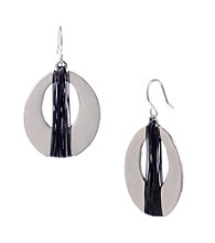 Kenneth Cole® Silvertone with Hematite Wire Wrapped Oval Drop Earrings