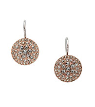 Fossil® Rose Goldtone Circle Drop Earrings with Black Diamond Pave Glitz