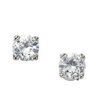 Fossil® Silvertone Clear Cubic Zirconia Stud Earrings