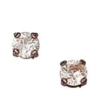 Fossil® Brown Crystal Cubic Zirconia Stud Earrings