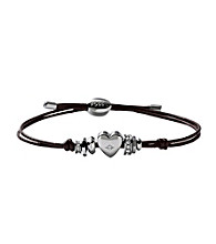Fossil® Brown Wrist Wrap with Silvertone Heart and Rondells